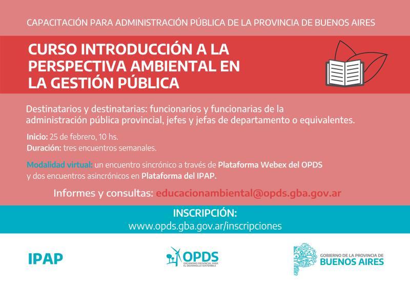 """La Provincia lanza la tercera edición del curso """"Introducción a la perspectiva ambiental en la gestión pública"""""""